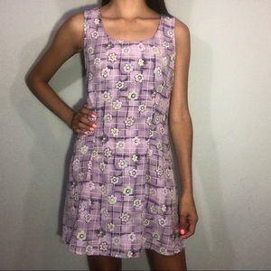 Floral & plaid print dress
